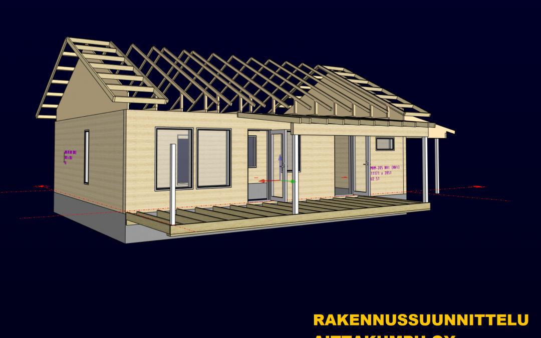 kuva talosta jossa on näkyvissä mhm-runko, kattopalkit ja kattoristikot ja lattiapalkit