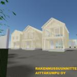 Kuva korttelista, jossa näkyy realistinen 3D-havainnekuva rakennuksista, joista on näkyvissä rakennusten kantava runko